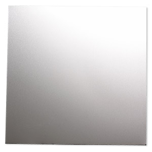 sheet, anodized aluminum, silver, 5-3/4 x 5-3/4 inch square, 26 gauge. sold individually.