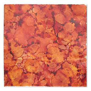 sheet, lillypilly, copper, autumn mist patina, 3-inch single-sided square, 36 gauge. sold individually.