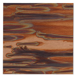 sheet, lillypilly, copper, enchantment patina, 3-inch single-sided square, 24 gauge. sold individually.