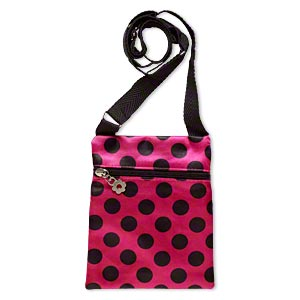shoulder wallet, polyester and steel, hot pink and black, 7x5-1/2 inch rectangle with polka dot design. sold individually.