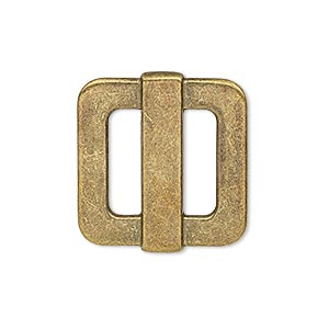 slide, antiqued brass-finished pewter (zinc-based alloy), 25x23mm single-sided rectangle, 14x4mm hole. sold per pkg of 4.