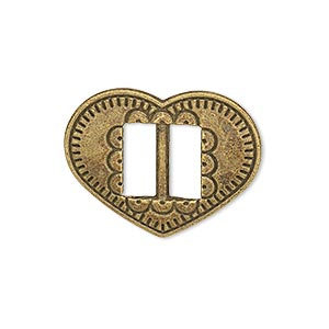 slide, antiqued brass-finished pewter (zinc-based alloy), 27x21mm single-sided textured heart, 9.5x4mm hole. sold per pkg of 4.