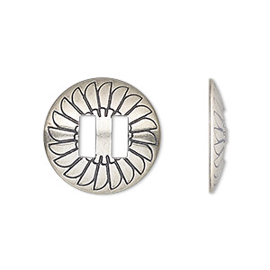 slide, antiqued sterling silver, 19mm single-sided round concho with fan design and 6.5mm bar, 6.5x2.5mm hole. sold individually.