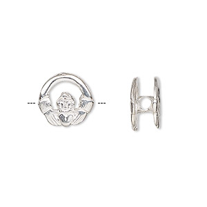 slide, sterling silver, 12mm claddagh with 2.5mm hole. sold individually.