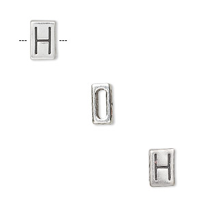 slide, sterling silver, 8.5x5.5mm double-sided alphabet block letter h with 6x2mm hole. sold individually.