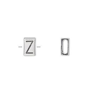 slide, sterling silver, 8.5x5.5mm double-sided alphabet block letter z with 6x2mm hole. sold individually.
