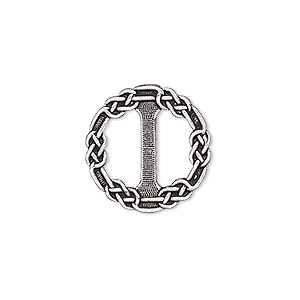 slide, tierracast, antique silver-plated pewter (zinc-based alloy), 20mm double-sided round with celtic chain design. sold individually.