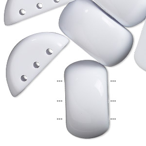 spacer, acrylic, opaque white, 26x14mm 3-strand half rondelle, fits 6mm bead. sold per pkg of 12.