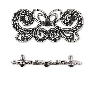 spacer, antique silver-plated pewter (zinc-based alloy) and czech glass rhinestone, black, 35x15mm 2-strand fancy rectangle. sold per pkg of 4.