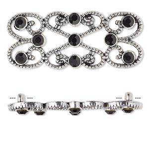 spacer, antique silver-plated pewter (zinc-based alloy) and czech glass rhinestone, black, 39x18mm 2-strand fancy rectangle. sold per pkg of 4.