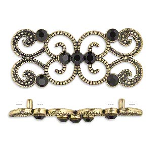 spacer, antiqued gold-finished pewter (zinc-based alloy) and czech glass rhinestone, black, 37x16mm 2-strand fancy rectangle. sold per pkg of 4.
