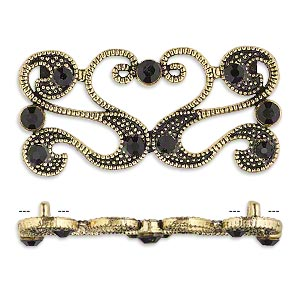 spacer, antiqued gold-finished pewter (zinc-based alloy) and czech glass rhinestone, black, 40x19mm 2-strand fancy rectangle. sold per pkg of 4.