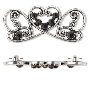 spacer, antiqued silver-finished pewter (zinc-based alloy) and czech glass rhinestone, black, 41x17mm 2-strand fancy rectangle. sold per pkg of 4.