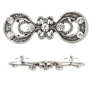 spacer, antiqued silver-finished pewter (zinc-based alloy) and czech glass rhinestone, clear, 37x14mm 2-strand fancy double circle. sold per pkg of 4.