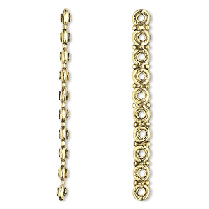 spacer bar, antique gold-plated pewter (tin-based alloy), 58x3mm 10-strand rondelle, fits up to 5.5mm bead. sold per pkg of 2.