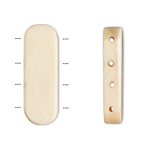 spacer bar, antiqued bone, 28x9mm-30x11mm 4-strand rounded flat rectangle. sold per pkg of 16.