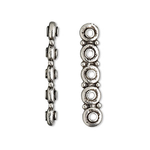 spacer bar, antiqued pewter (tin-based alloy), 30x3.5mm 5-strand smooth rondelle, fits up to 5.5mm bead. sold per pkg of 2.