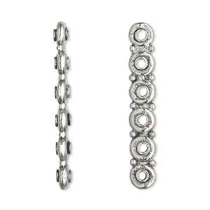 spacer bar, antiqued pewter (tin-based alloy), 35x3mm 6-strand rondelle, fits up to 5mm bead. sold per pkg of 2.