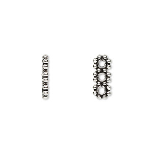 spacer bar, antiqued sterling silver, 13x5mm 3-strand beaded rectangle. sold per pkg of 2.