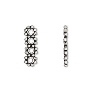 spacer bar, antiqued sterling silver, 20x6mm 4-strand beaded rectangle, 5mm between holes. sold per pkg of 2.