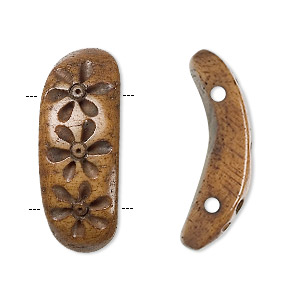 spacer bar, bone (dyed), brown, 30x10mm hand-carved 2-strand curved rectangle with snowflake pattern, mohs hardness 2-1/2. sold per pkg of 8.