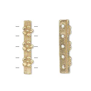 spacer bar, jbb findings, gold-plated pewter (tin-based alloy), 26x5mm 5-strand single-sided with flower design, fits up to 4mm bead. sold individually.