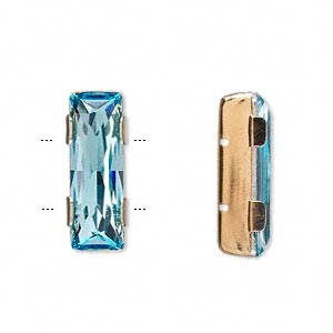 spacer bar, swarovski crystals and gold-plated brass, aquamarine, 21x8mm 2-strand single-stone faceted rectangle, 8mm between holes. sold per pkg of 24.