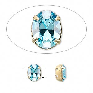 spacer bar, swarovski crystals and gold-plated brass, aquamarine, 8x6mm double-drilled single-stone faceted oval, 3mm between holes. sold per pkg of 4.