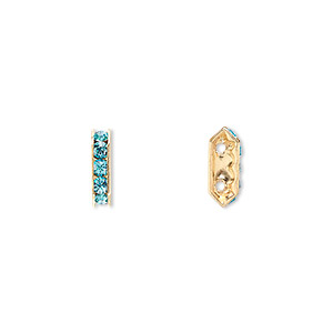 spacer bar, swarovski crystals and gold-plated brass, aquamarine with silver-foil back, 10.5x2.5mm 2-strand multi-stone rectangle with 4mm between holes, five size pp16 chatons. sold per pkg of 144 (1 gross).