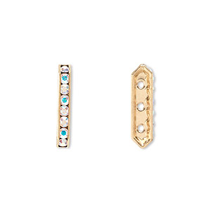 spacer bar, swarovski crystals and gold-plated brass, crystal ab with silver-foil back, 17.5x2.5mm 3-strand multi-stone rectangle with 4mm between holes, eight size pp16 chatons. sold per pkg of 144 (1 gross).