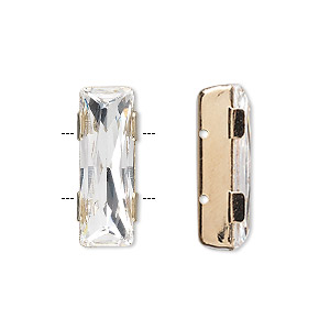 spacer bar, swarovski crystals and gold-plated brass, crystal clear, 21x8mm double-drilled single-stone faceted rectangle, 8mm between holes. sold per pkg of 24.