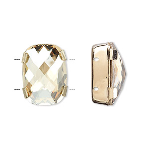 spacer bar, swarovski crystals and gold-plated brass, crystal golden shadow, silver-foil back, 18x13mm double-drilled single-stone faceted rounded rectangle, 8mm between holes. sold individually.
