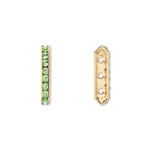 spacer bar, swarovski crystals and gold-plated brass, peridot with silver-foil back, 17.5x2.5mm 3-strand multi-stone rectangle with 4mm between holes, eight size pp16 chatons. sold per pkg of 144 (1 gross).