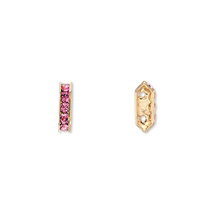 spacer bar, swarovski crystals and gold-plated brass, rose with silver-foil back, 10.5x2.5mm 2-strand multi-stone rectangle with 4mm between holes, five size pp16 chatons. sold per pkg of 144 (1 gross).