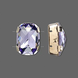 spacer bar, swarovski crystals and gold-plated brass, tanzanite, silver-foil back, 18x13mm double-drilled single-stone faceted rounded rectangle, 8mm between holes. sold per pkg of 24.