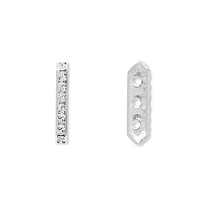 spacer bar, swarovski crystals and rhodium-plated brass, crystal passions, crystal clear, 17.5x2.5mm 3-strand (77719), fits up to 4mm bead. sold per pkg of 4.