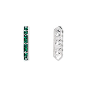 spacer bar, swarovski crystals and rhodium-plated brass, emerald, 17.5x2.5mm 3-strand 6-sided (77719), fits up to 4mm bead. sold per pkg of 144 (1 gross).