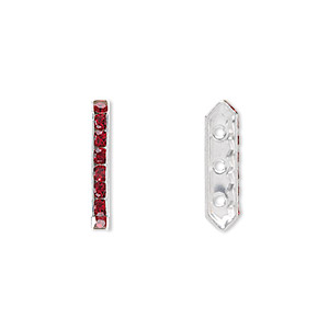 spacer bar, swarovski crystals and silver-plated brass, siam with silver-foil back, 17.5x2.5mm 3-strand multi-stone rectangle with 4mm between holes, eight size pp16 chatons. sold per pkg of 144 (1 gross).