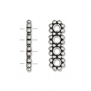 spacer bead, sterling silver, 4 holes, beaded rondelles. sold per pkg of 2.