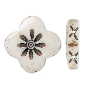 spacer, bone (bleached), light, 24x24mm hand-carved 2-strand flower, mohs hardness 2-1/2. sold per pkg of 6.