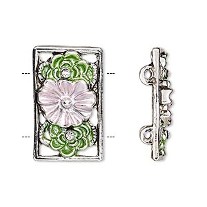spacer, glass rhinestone / enamel / antique silver-finished pewter (zinc-based alloy), pink / green / clear, 24x14mm single-sided 2-strand beaded rectangle with flower and leaves design, fits up to 14mm bead. sold per pkg of 2.