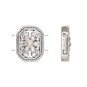 spacer, glass rhinestone and antique silver-finished pewter (zinc-based alloy), clear ab, 18x14mm single-sided 2-strand octagon with flower and leaves design, fits up to 7mm bead. sold per pkg of 2.