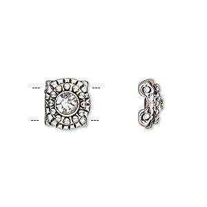 spacer, glass rhinestone and antique silver-finished pewter (zinc-based alloy), clear, 10.5x9.5mm single-sided 2-strand beaded flower, fits up to 6mm bead. sold per pkg of 6.