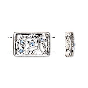spacer, glass rhinestone and antique silver-finished pewter (zinc-based alloy), light blue, 18x12mm single-sided 2-strand curved rectangle with swirl design, fits up to 6mm bead. sold per pkg of 3.