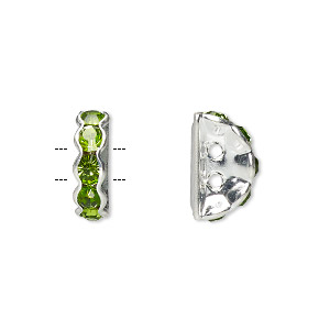 spacer, glass rhinestone and silver-plated brass, peridot, 12x4mm 2-strand half-round bridge, fits up to 3.5mm bead. sold per pkg of 10.