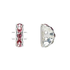spacer, glass rhinestone and silver-plated brass, rose, 12x4mm 2-strand half-round bridge, fits up to 3.5mm bead. sold per pkg of 10.