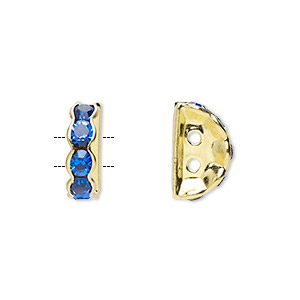 spacer, gold-finished brass and rhinestone, blue, 12x4mm 2-strand half-round bridge, fits up to 3.5mm bead. sold per pkg of 10.
