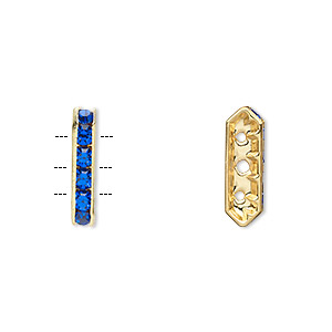 spacer, gold-finished brass and rhinestone, blue, 16x3.5mm 3-strand bridge, fits up to 3.5mm bead. sold per pkg of 10.
