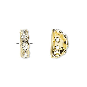 spacer, gold-finished brass and rhinestone, clear, 12x4mm 2-strand half-round bridge, fits up to 3.5mm bead. sold per pkg of 10.