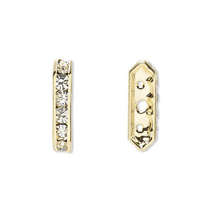 spacer, gold-finished brass and rhinestone, clear, 16x3.5mm 3-strand bridge, fits up to 3.5mm bead. sold per pkg of 10.